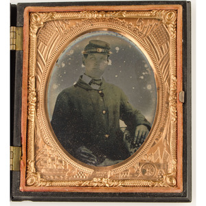 Sixth Plate Ruby Ambrotype of a Civil War Soldier, Housed in Highland Chief Union Case