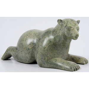 Noah Jaw (Inuit, b. 1976) Serpentine Stone Bear Sculpture