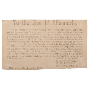 Confederate 1863 Broadside, To the Men of Albemarle