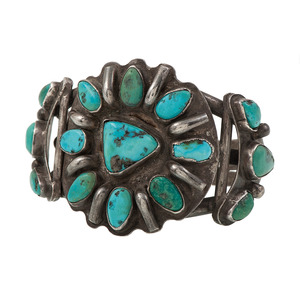 Fred Weekoty (Zuni, 20th century) Silver and Turquoise Cuff Bracelet