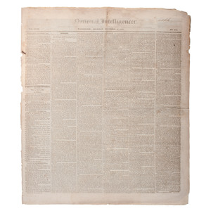 Andrew Jackson's 1831 State of the Union, Incl. the Indian Removal Policy, Printed in Washington's Daily National Intelligencer