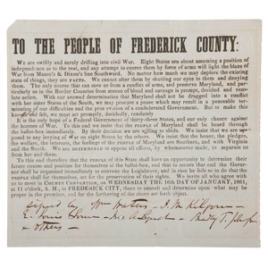 Maryland Confederate 1861 Broadside Issued by CSA General Bradley T. Johnson, To the People of Frederick County