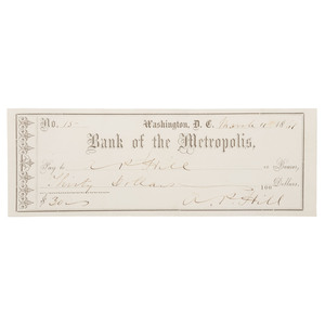 Civil War Check Signed by CSA General A. P. Hill