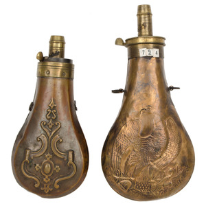 Lot of Two Powder Flasks