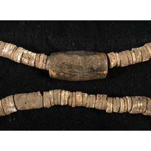 A Shell Bead Necklace with Cannel Coal Center Bead, 11-3/8 in.