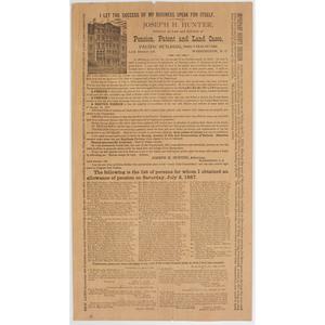 Civil War Soldier's Pension Broadside, 1887