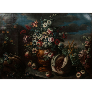 Continental Still Life with Flowers and Fruit Oil on Canvas