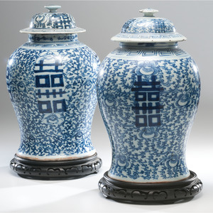 Chinese Blue and White Baluster Urns