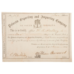 Palmetto Exporting and Importing Co., SC, Blockade Runner Bond