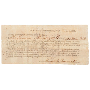 1863 Vicksburg Parole Document, Signed by CSA Private Thomas L. Tunnell, 43rd Mississippi Infantry