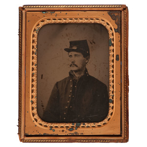 Half Plate Ambrotype of Private Adumea Russell, 6th Michigan Cavalry, Captured at Hanover, PA