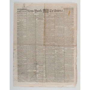 Three May-June 1865 Issues of the New-York Tribune, Reporting on Lincoln's Funeral and the Capture and Trial of the Assassins