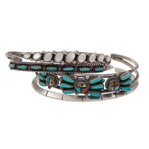 W.D. Weeka (Zuni, 20th century) Silver and Turquoise Needle Point Cuff Bracelet PLUS