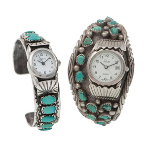 Fred Weekoty (Zuni, 20th century) Silver and Turquoise Cuff Watch Band PLUS