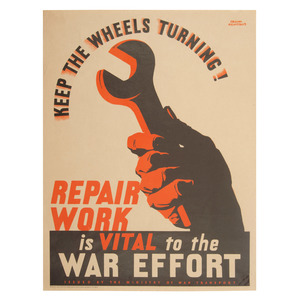 British Keep The Wheels Turning War Effort Lithograph Poster by Frank Newbould