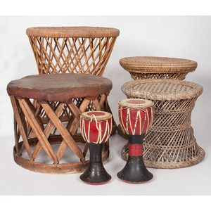 African Basketry Stools and Wood Drums, Sold to benefit the Acquisitions Fund of the Berea College Art College