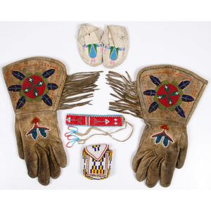 Shoshone Beaded Hide Gauntlets, PLUS