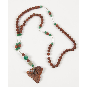 Carved Aloweswood and Peking Glass Beads Necklace