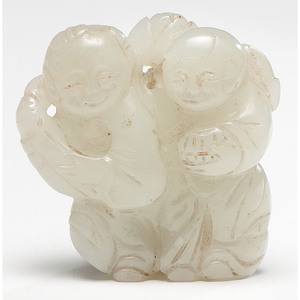 Jade Figural Carving of He-He Boys