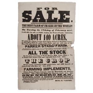 Bourbon County, Kentucky Slave Sale Broadside Advertising
