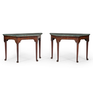 Pair of Georgian Console Tables with Marble Tops