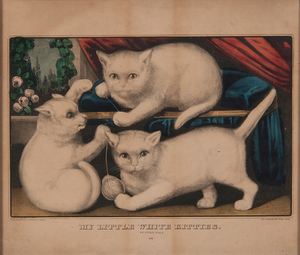 Currier & Ives Hand-Colored Lithograph, My Little White Kitties
