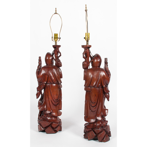 Pair of Carved Hardwood Shou Xing Mounted as Lamps