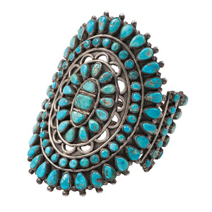 Victor Moses Begay (Dine, 20th century) Large Navajo Silver and Turquoise Cluster Cuff Bracelet