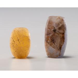 Two Large Fluorite Barrel Beads; Longest 1-1/4 in.