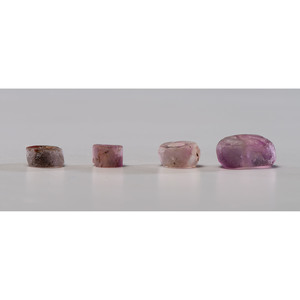 Four Lavender Fluorite Disc / Donut Beads; Largest 1/2 in.