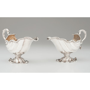 Pair of George II Sterling Gravy Boats