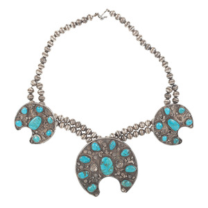 Southwestern Silver Crescent Necklace Set with Turquoise
