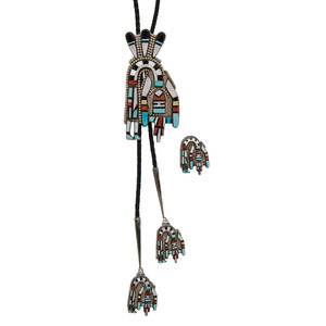 Herbert & Esther Cellicion (Zuni, 20th century) Silver Inlaid Rainbow Man Bolo Tie and Pin