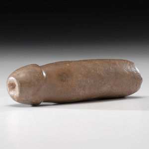 A Sandstone Phallic Effigy Tube Pipe, 7-1/4 in.