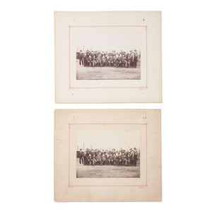 Buffalo Bill Cody with Survivors of the Battle of Balaclava, at Manchester, England, 1891, Lot of Two Photographs