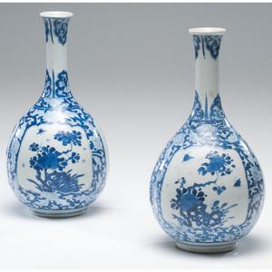 Chinese Blue and White Kangxi Bottle Vases