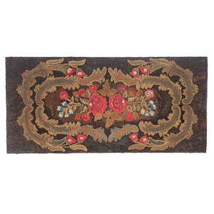 Early Floral Hooked Rug
