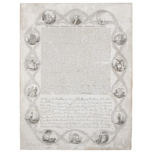 [Americana - Miniature Broadside - Declaration of Independence] First Miniature Printing of Declaration of Independence, Bridgham 1836, Boston