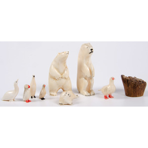 Alaskan Eskimo Walrus Ivory Carvings, From the Collection of Art Gerber, Indiana