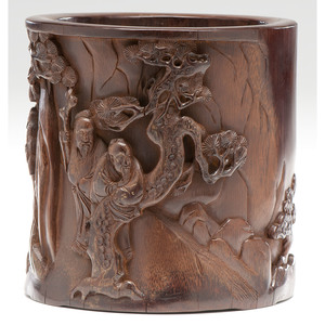 Chinese Carved Bamboo Brush Pot with Scholars