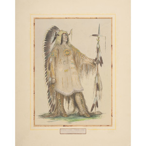 George Catlin (American, 1798-1872) Hand-Colored Lithograph on Paper