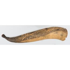 Relief Carved Dog Horn