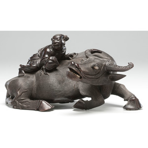 Chinese Carved Hardwood Water Buffalo with Boy and Peach