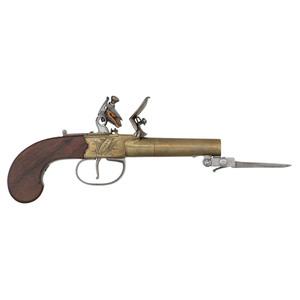 English Brass Boxlock Pistol by Thomas & Storrs with Snap Bayonet