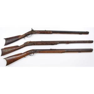 Lot of Three Half Stock Percussion Rifles