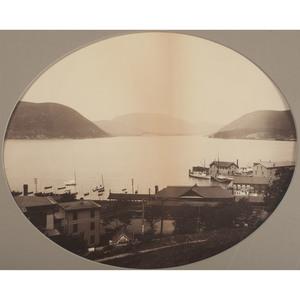 Mammoth Plate Albumen Photograph of Peekskill, NY Harbor, ca 1880