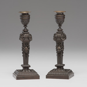French Bronze Neoclassical Candlesticks
