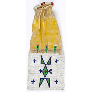 Plains Beaded Hide Tobacco Bag, From the Collection of William H. Saunders, M.D. and Putzi Saunders, Ohio