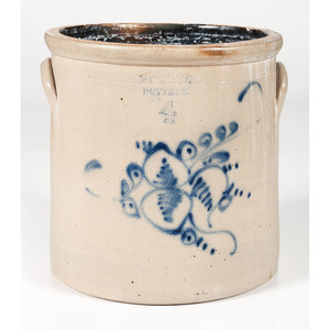 West Troy Pottery Four-Gallon Stoneware Crock