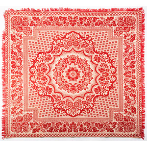 Red and White Coverlet